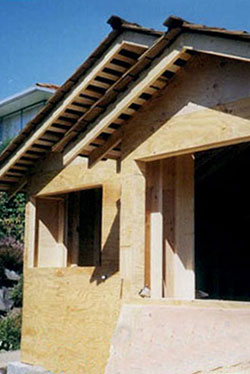 closeup of roof peaks over new addition