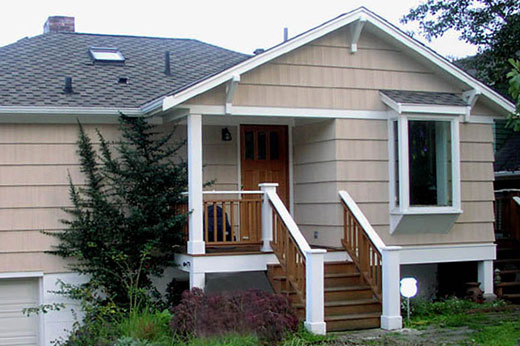 new entry addition with entry at the front of the house